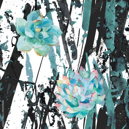 akwarela-sukulenty-i-paski-streszczenie-niebieskie-plamy-splatter-plamy-linie
