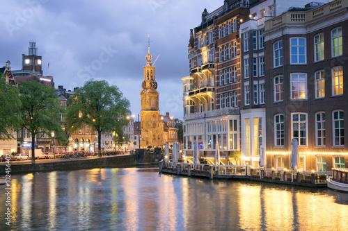 Photo  Sunset view of Munttoren in Amsterdam