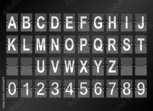 Alphabet in airport arrival and departure display style template. Wallpaper Mural