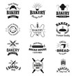 Bakery badges and logo icons thin modern style vector collection set