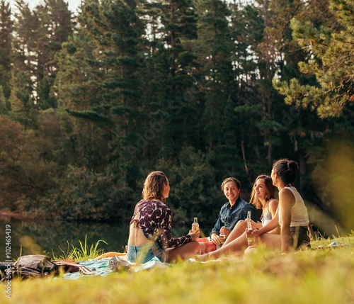 Group of teenagers having a picnic on the lake Wall mural