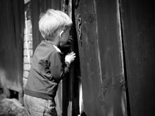 Children's Curiosity - Boy Looking Throw Shed's Door