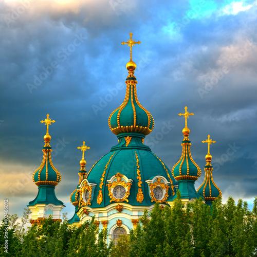 Foto op Plexiglas Kiev Golden Domes of Saint Andrew's Church in Kiev