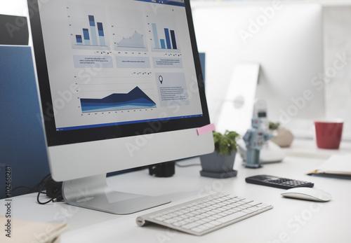 Fotografie, Obraz  Workspace Working Desk Accounting Analysis Concept