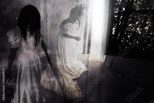 Fotografie, Obraz  Fear Night,Ghost in Haunted House
