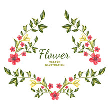 Vector Of Flower Bouquets. Red Wildflowers Flowers