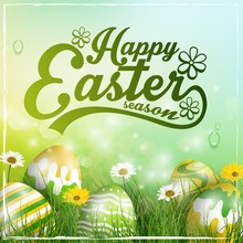 Beautiful Easter Yellow Green Background With Flowers And Colorful Eggs In The Grass