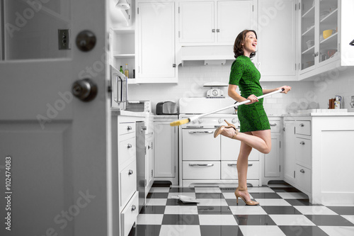 Fotografie, Obraz  Happy fun dancing housewife housekeeping kitchen clean immaculate joyful pleasan
