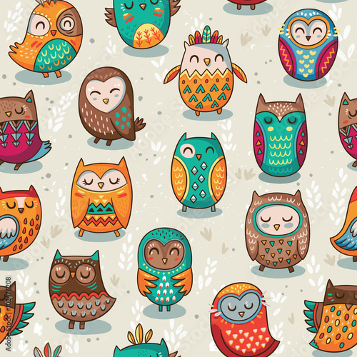 Cotton fabric Seamless pattern with tribal owls
