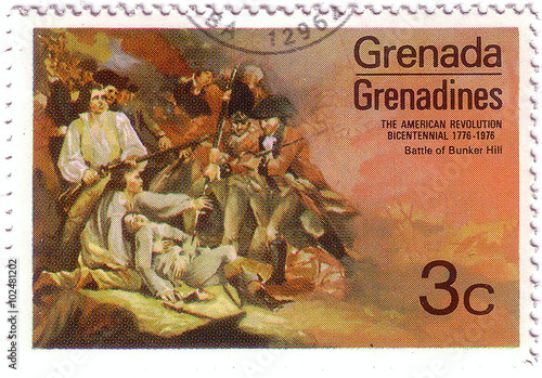 Fotografering  GRENADA - CIRCA 1976: A stamp printed in Grenada shows the battle at Bunker hill