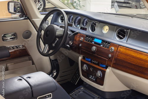 Car Interior With Luxury Wood Decoration Buy This Stock Photo And