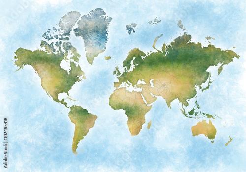 Fotografie, Obraz  illustrazione mappa mondo e dei continenti del pianeta terra