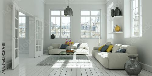 Fotografie, Obraz  helles modernes Wohnzimmer