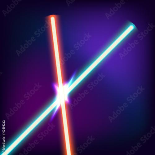 Photo Neon swords. Flash contact