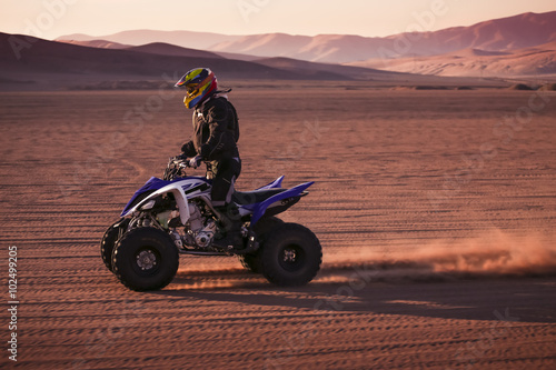 obraz lub plakat Quad racing in the desert