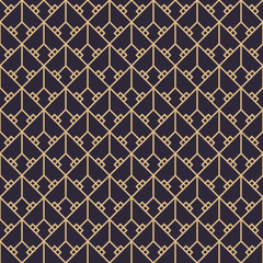 Panel Szklany Podświetlane Art Deco Geometric gold luxury pattern