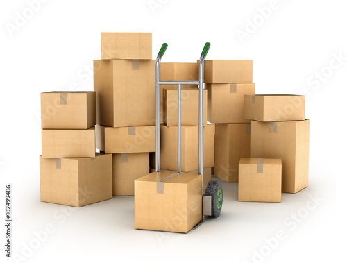 Fotografía  Hand truck with a Pile of cardboard boxes. Part of warehouse and