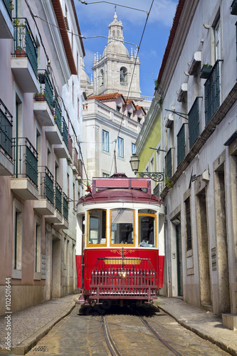 Lisbon. Image of street of Lisbon, Portugal with historical tram.