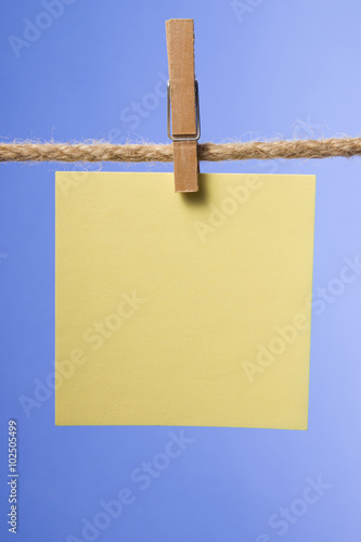 Blank paper notes hanging on rope with clothes pins, copy