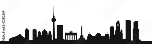 Skyline Berlin als Vektor Kontur Wallpaper Mural