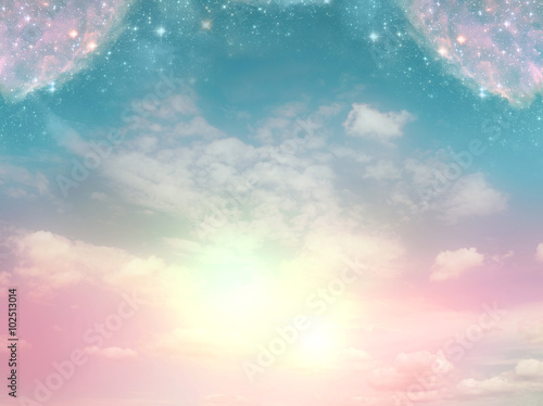 Fototapeta mystical background with divine light and magic stars