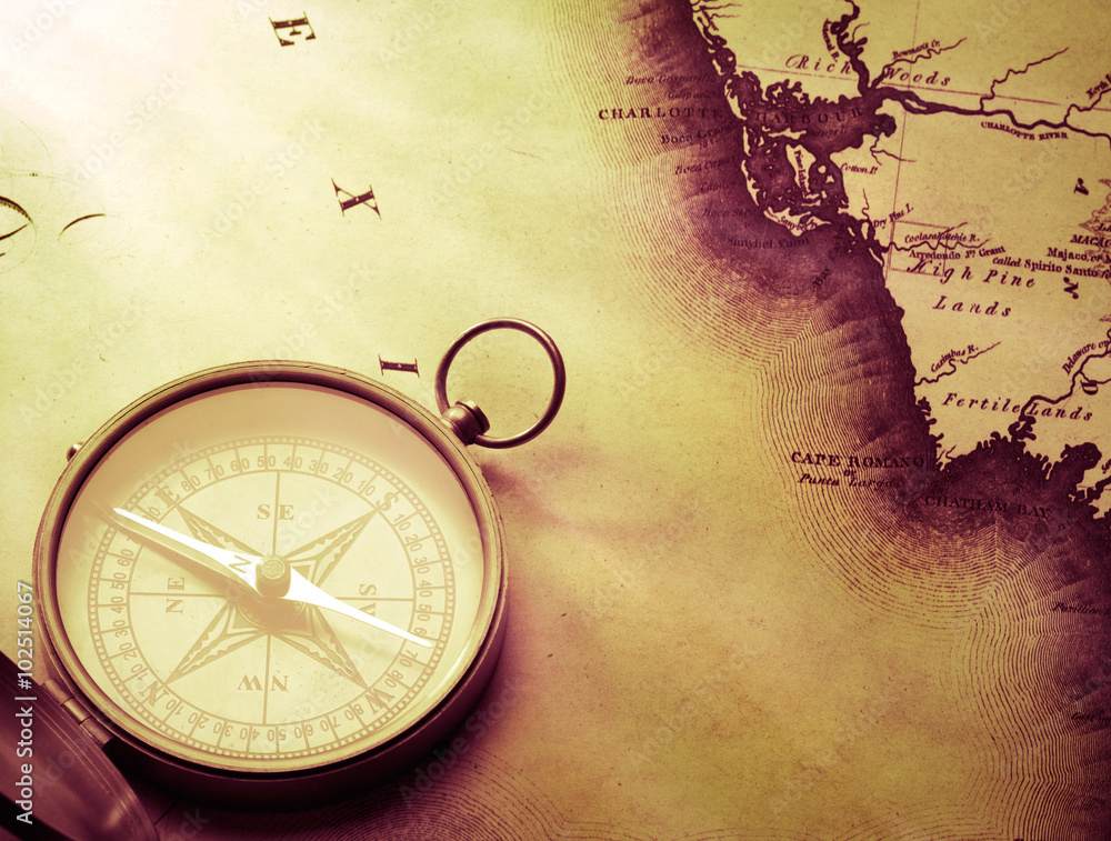 Fototapety, obrazy: antique compass on vintage map background
