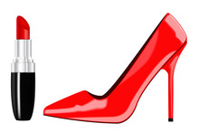 Red High Heels Shoe And Red Lipstick.