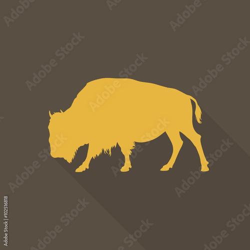 Valokuvatapetti Stylish aurochs on a brown background