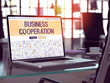Business Cooperation Concept Closeup on Landing Page of Laptop Screen in Modern Office Workplace. Toned Image with Selective Focus. 3D Render.
