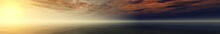 Panorama Of Sea Sunset, The View Of The Ocean Sunrise, Sunset At Sea, Tropical Sunset.