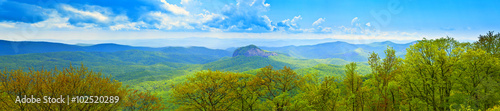 Aluminium Prints Blue 180 degree panoramic of great smoky mountains