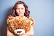 Happy Woman Received A Teddy B...