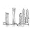 Cayan Tower, known as Infinity Tower. Modern buildings in Dubai Marina, Dubai, UAE. Vector hand drawn sketch.