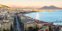Gulf Of Naples Seen From Posillipo With A View Of Castel Dell 'Ovo And Vesuvius