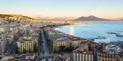 Foto op Aluminium Napels Gulf of Naples seen from Posillipo with a view of Castel dell 'Ovo and Vesuvius