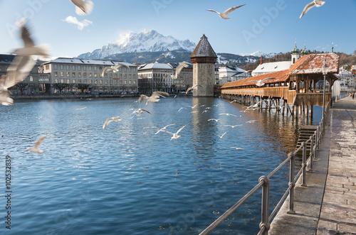 Photographie  Kapellbrücke bridge, Lucerne  - Switzerland