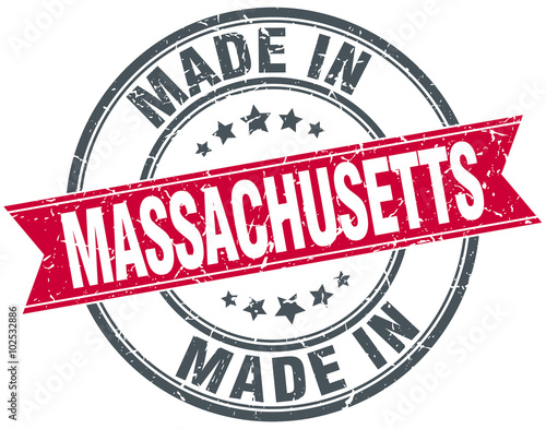 Photo made in Massachusetts red round vintage stamp