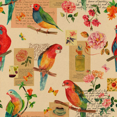 Fototapeta Vintage collage with watercolor drawings of birds, roses, and butterflies