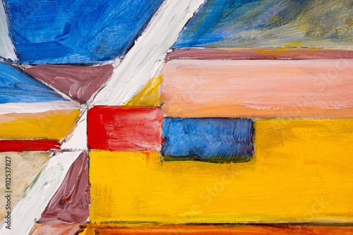 A detail from an abstract painting; Rough-Edged Contrasting Blocks of Colour - 102537827