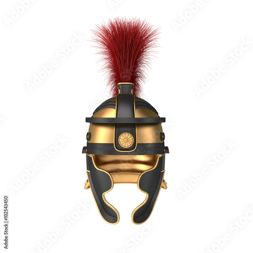 Fotografie, Obraz  Isolated illustration of a Roman Helmet with a scarlet plume