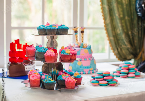 Cupcakes On Stand And Birthday Cake A Table