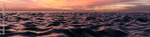 Pink Sunset Panorama Over Ocean Waves