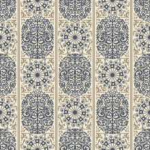 Beige And Blue Ancient Vintage Seamless Ornamental Texture. Vector Illustration