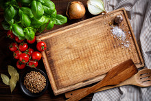 Cooking Background With Old Cutting Board