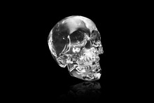 Crystal Skull On Black At Angl...