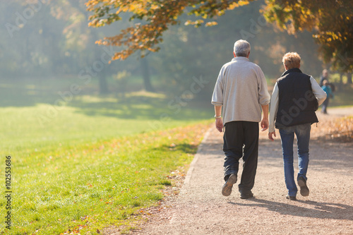 Fotografia  Senior citizen couple taking a walk in a park during autumn morning