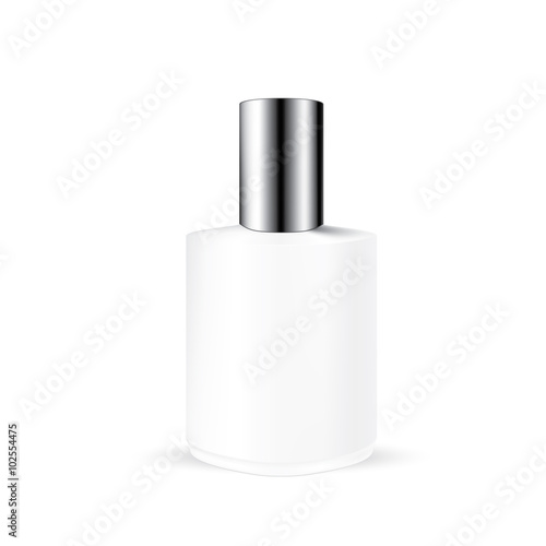 vector packaging white gray round bottle with long silvery cap for