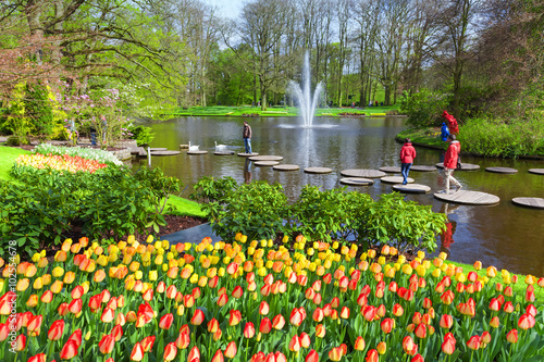 Photo  Scenic with lake in Spring Park Keukenhof, Netherlands