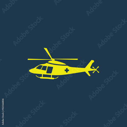 Green icon of Helicopter on dark blue background  Eps 10