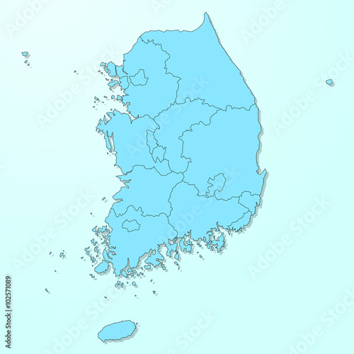 South Korea map on blue degraded background vector Poster